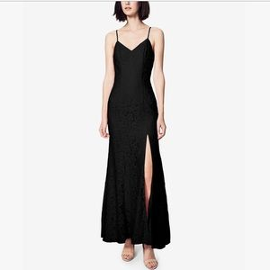 Fame & Partners Black Lace Corded Slit Gown Dress